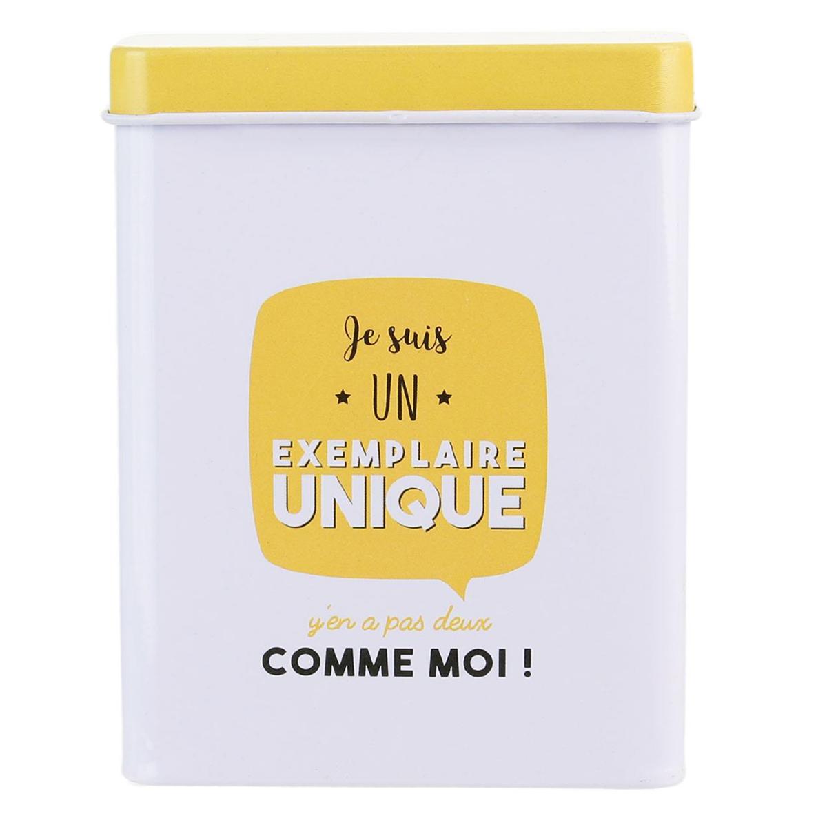 Etui métal à paquet de cigarettes \'Messages\' jaune blanc (Je suis un exemplaire unique ) - 24 cigarettes - [Q1672]