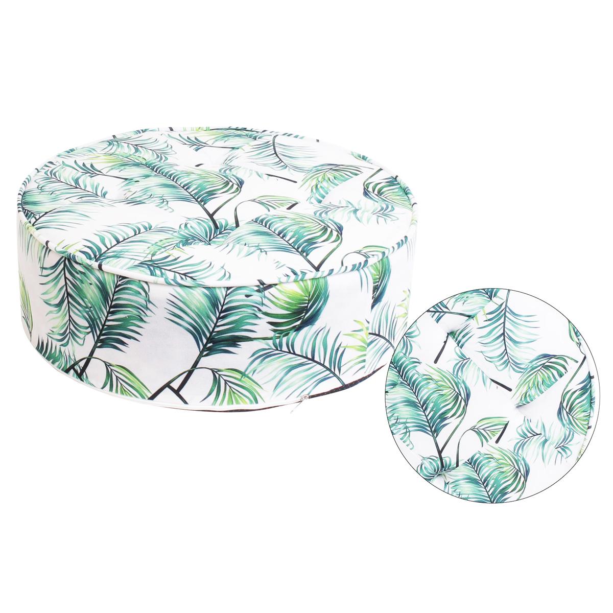 Coussin de sol / pouf galette \'Jungle\' vert blanc - 50 cm - [Q1679]