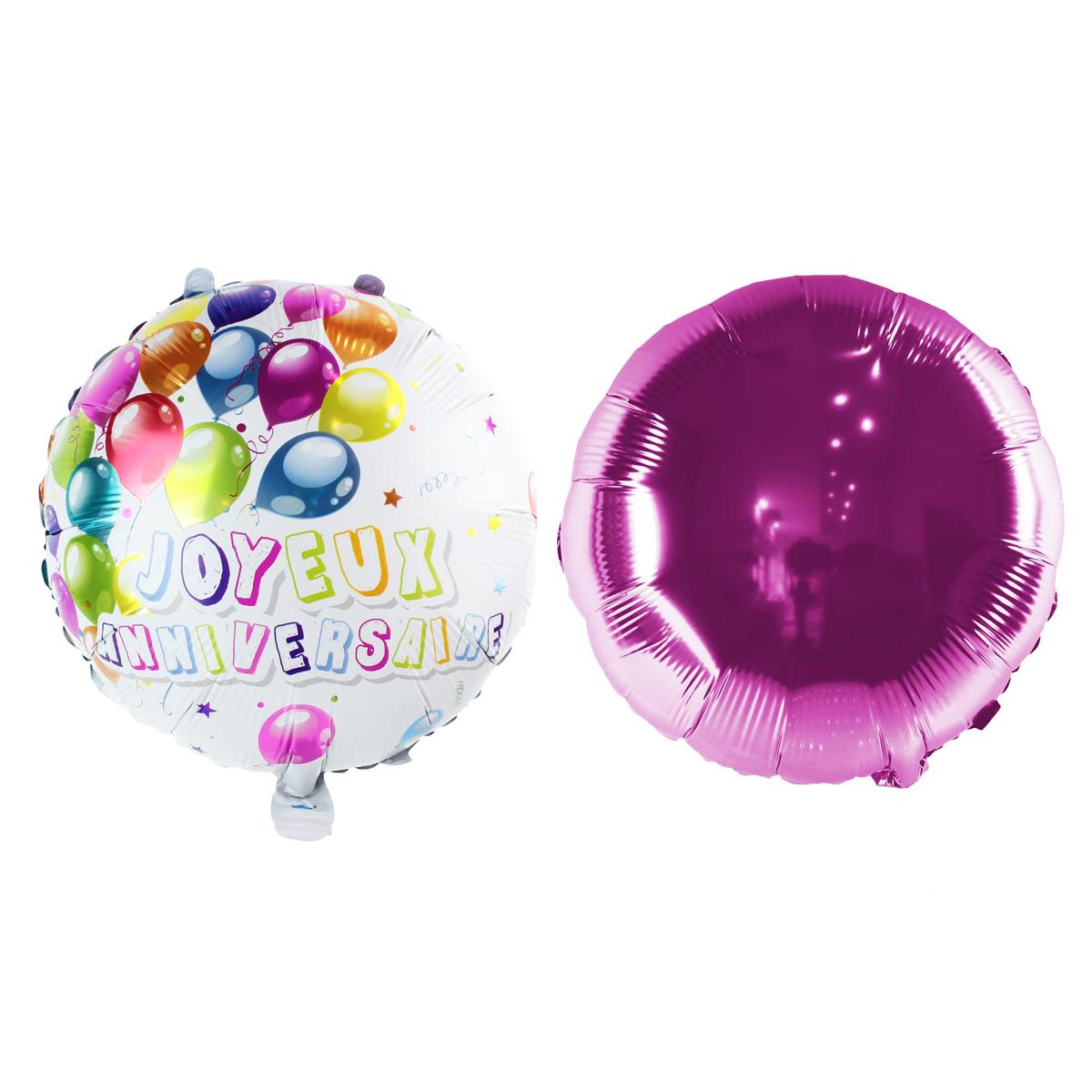 2 ballons métalliques \'Joyeux Anniversaire\' rose multicolore - 45 cm - [Q1682]