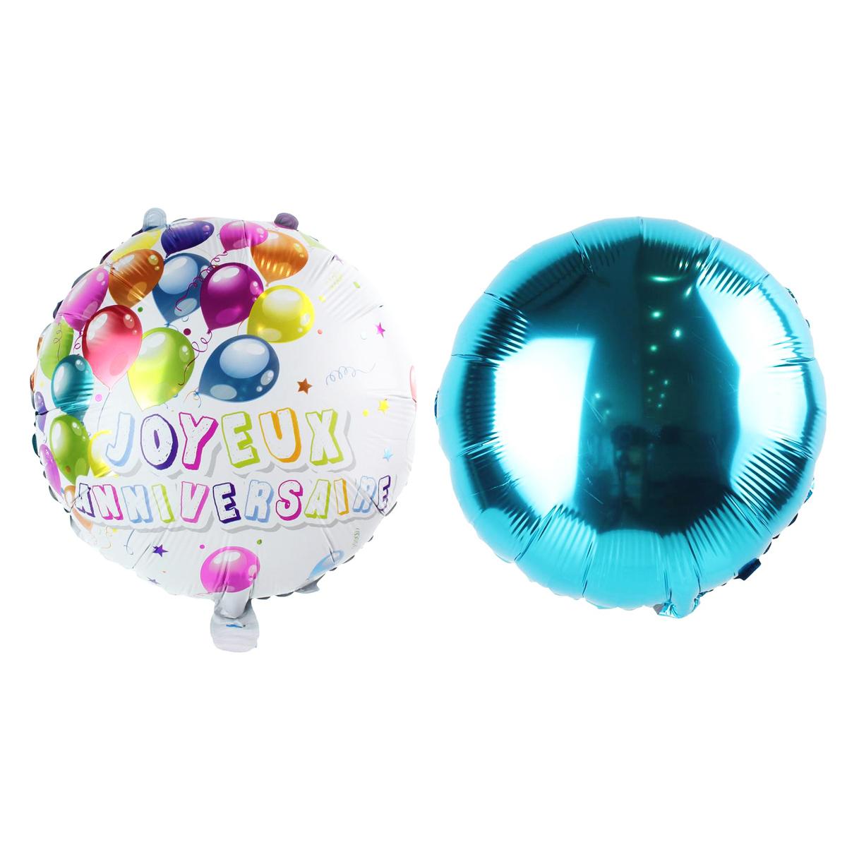 2 ballons métalliques \'Joyeux Anniversaire\' bleu multicolore - 45 cm - [Q1683]
