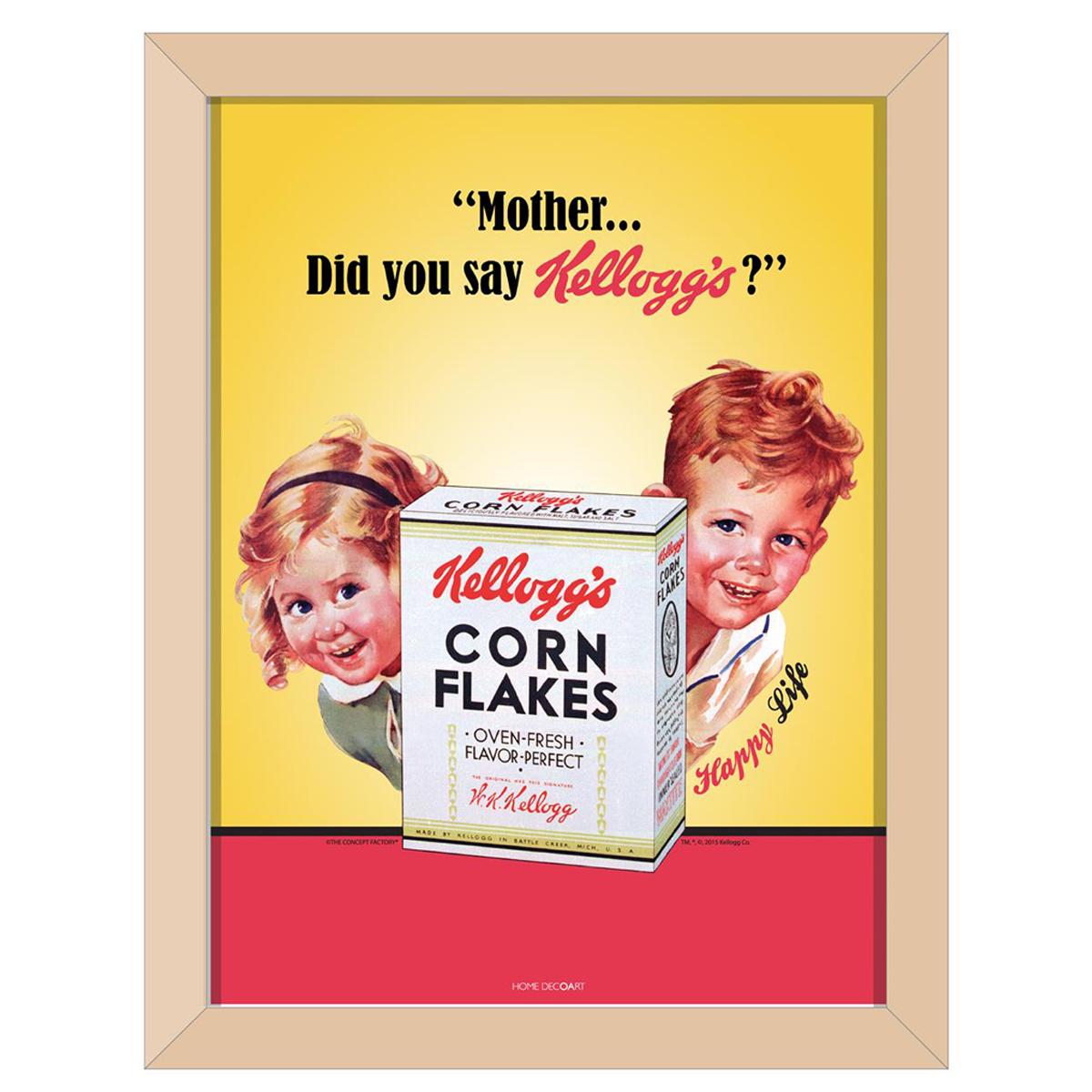 Cadre tableau bois \'Kellogg\'s\' jaune beige (Corn Flakes) - 44x34x1 cm - [Q1701]
