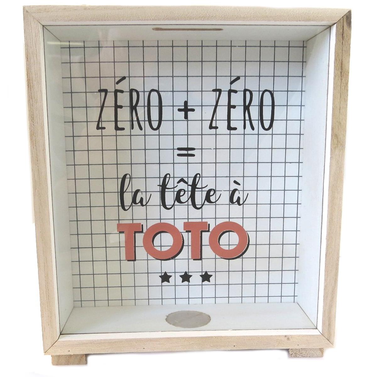 Tirelire bois \'Messages\' rouge beige (Zéro + zéro = la tête à Toto) - 212x18x58 cm - [Q1732]