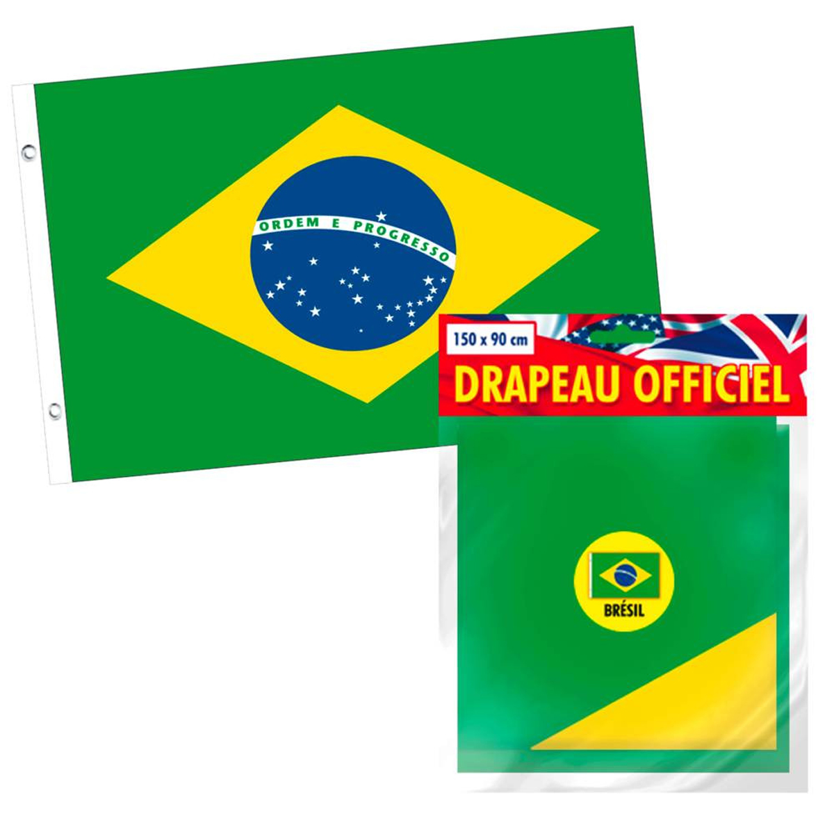 Drapeau \'Brésil\' vert - 90x150 cm - [L2249]