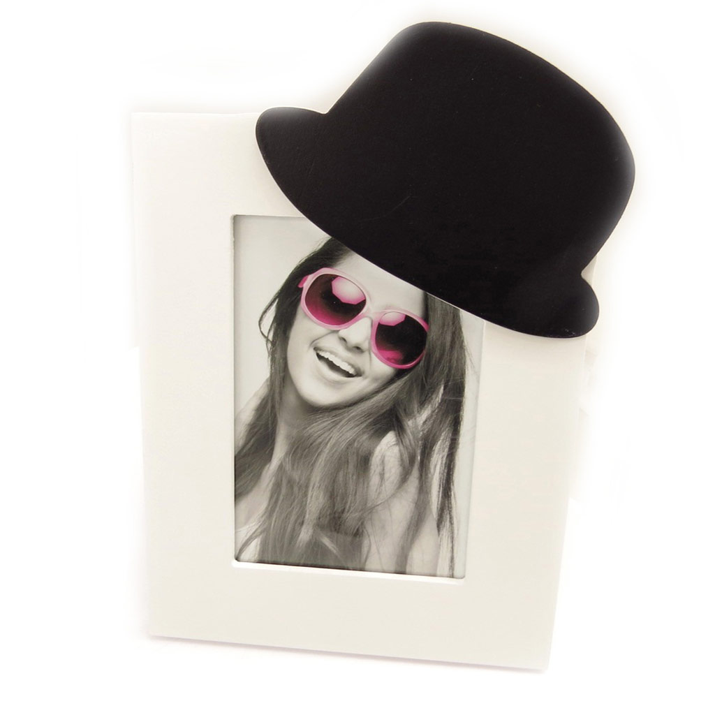 Cadre photo \'Chapeau\' blanc noir  - [L2266]