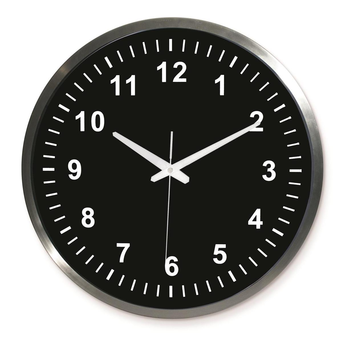Horloge métal \'Design\' noir argenté - 45 cm - [Q1754]