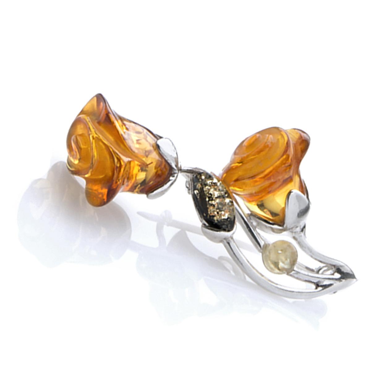 Broche Argent \'Rosa Romantica\' 3 ambres (rhodié) - [N2209]