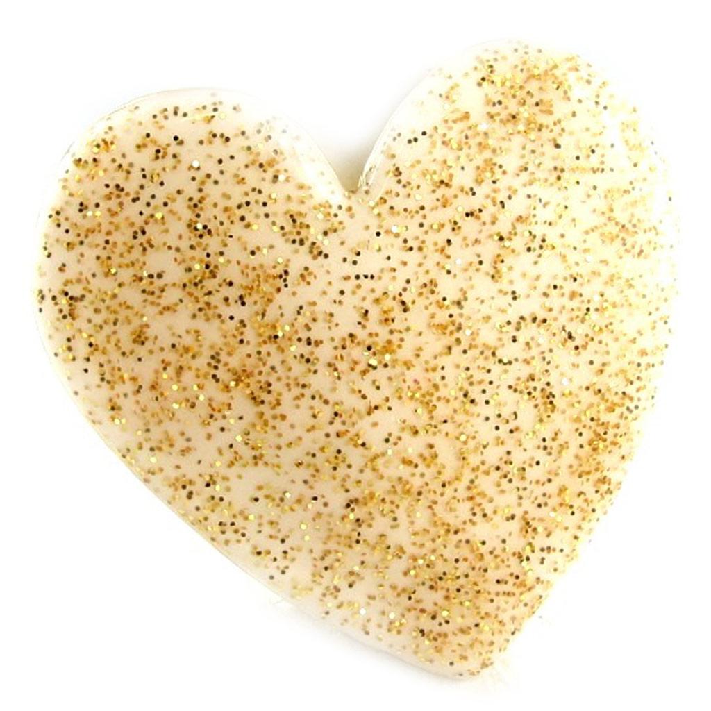 Bague Créateur \'Love\' beige doré paillettes - [L2348]