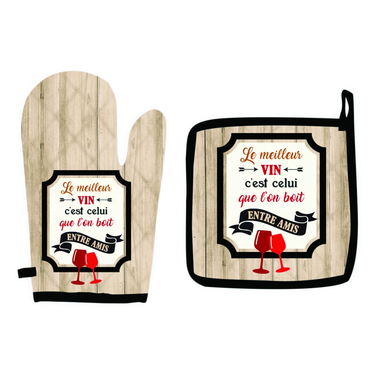 Set de gant + manique \'Messages\' marron (le meilleur vin est celui que l\'on boit entre Amis)  - [Q1824]