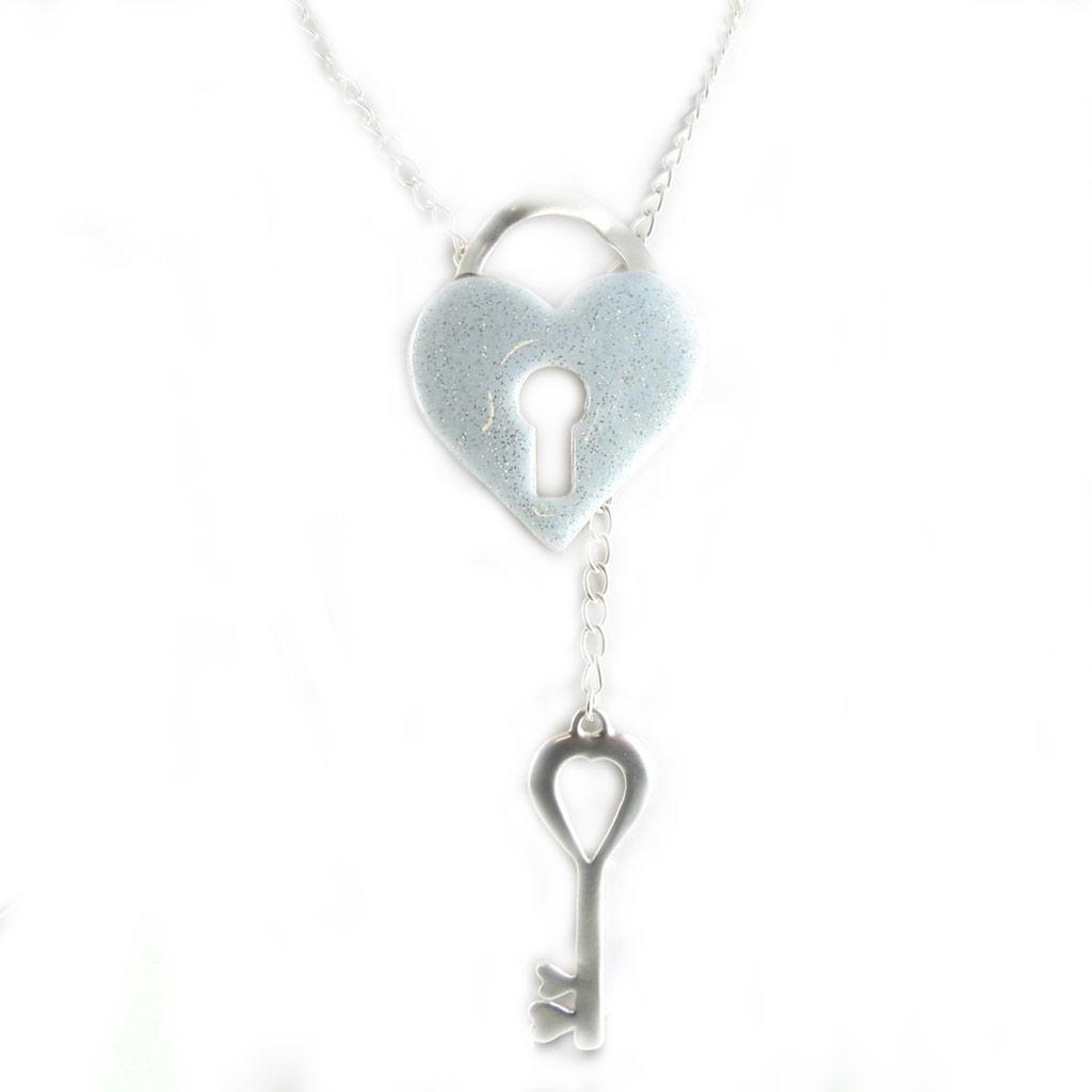 Sautoir Créateur \'Love\' blanc argenté - [L2603]