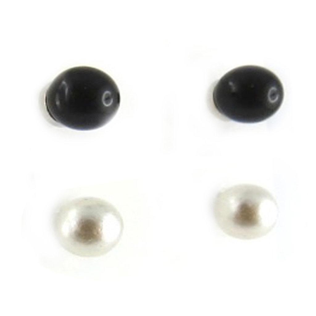 2 paires de boucles \'Perla\' noir ivoire (4 mm) - [L2656]