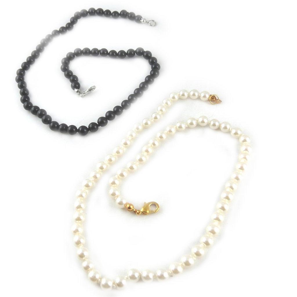 2 colliers \'Perla\' noir ivoire (6 mm) - [L2670]