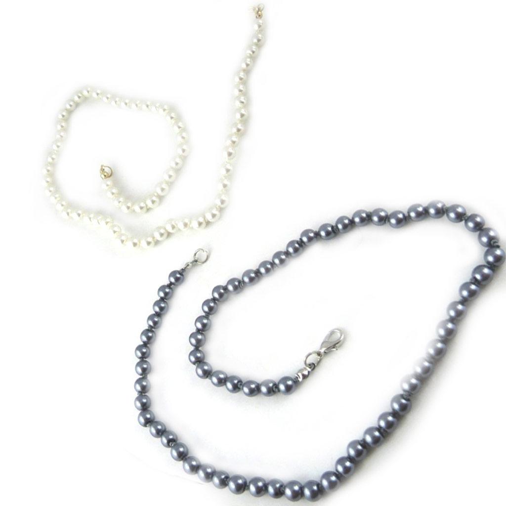 2 colliers \'Perla\' gris ivoire (6 mm) - [L2671]