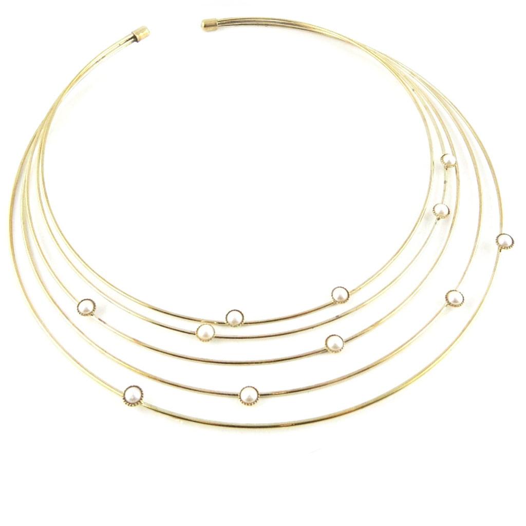 Collier \'Sissi\' ivoire doré - [L2678]