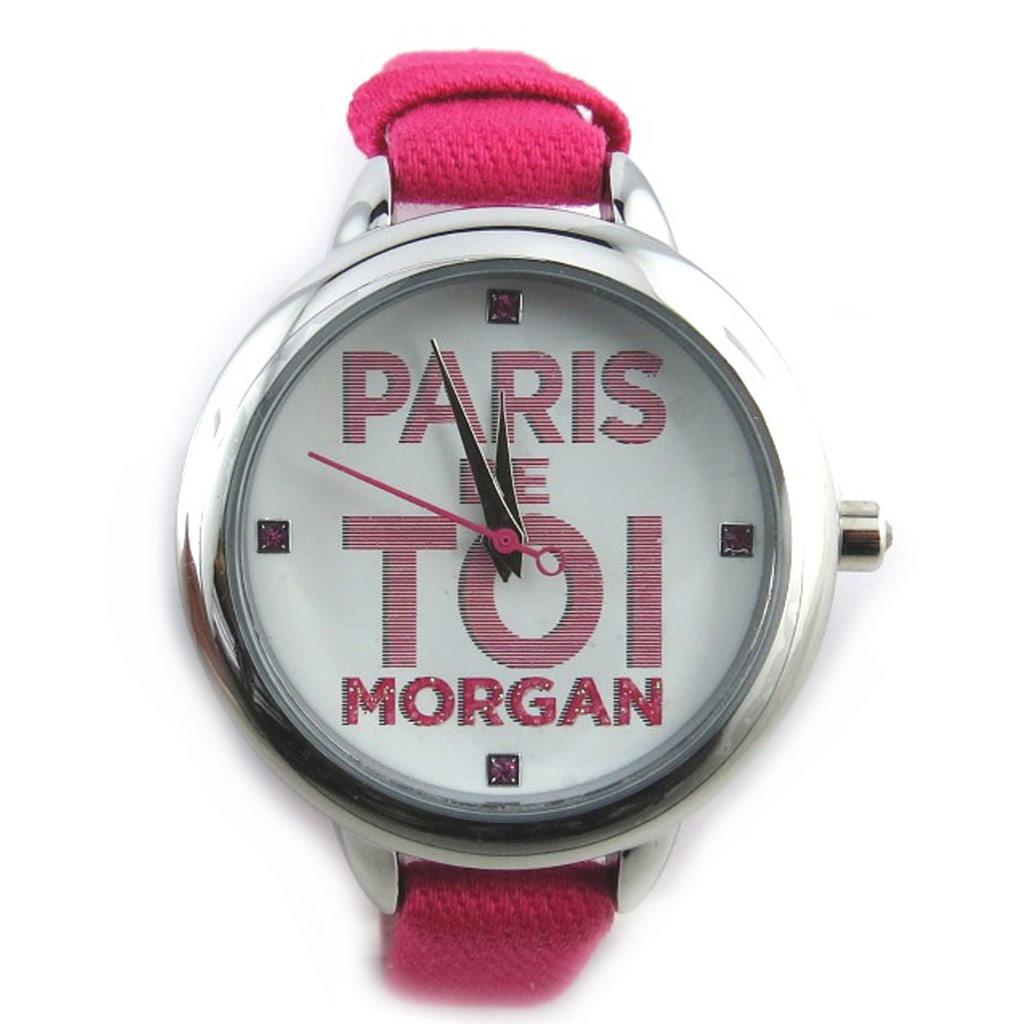 Montre créateur \'Morgan\' fuschia argenté (Paris de toi) - [N2370]