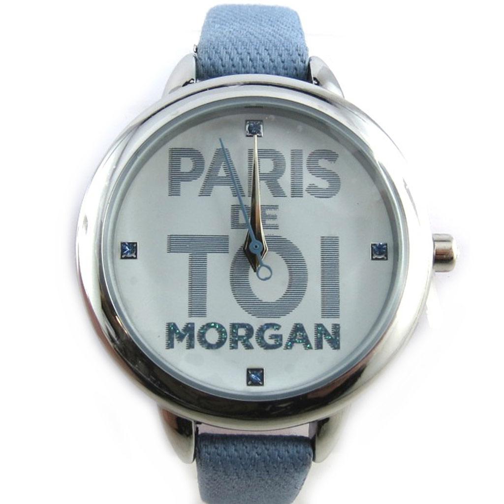 Montre créateur \'Morgan\' bleu argenté (Paris de toi) - [N2371]