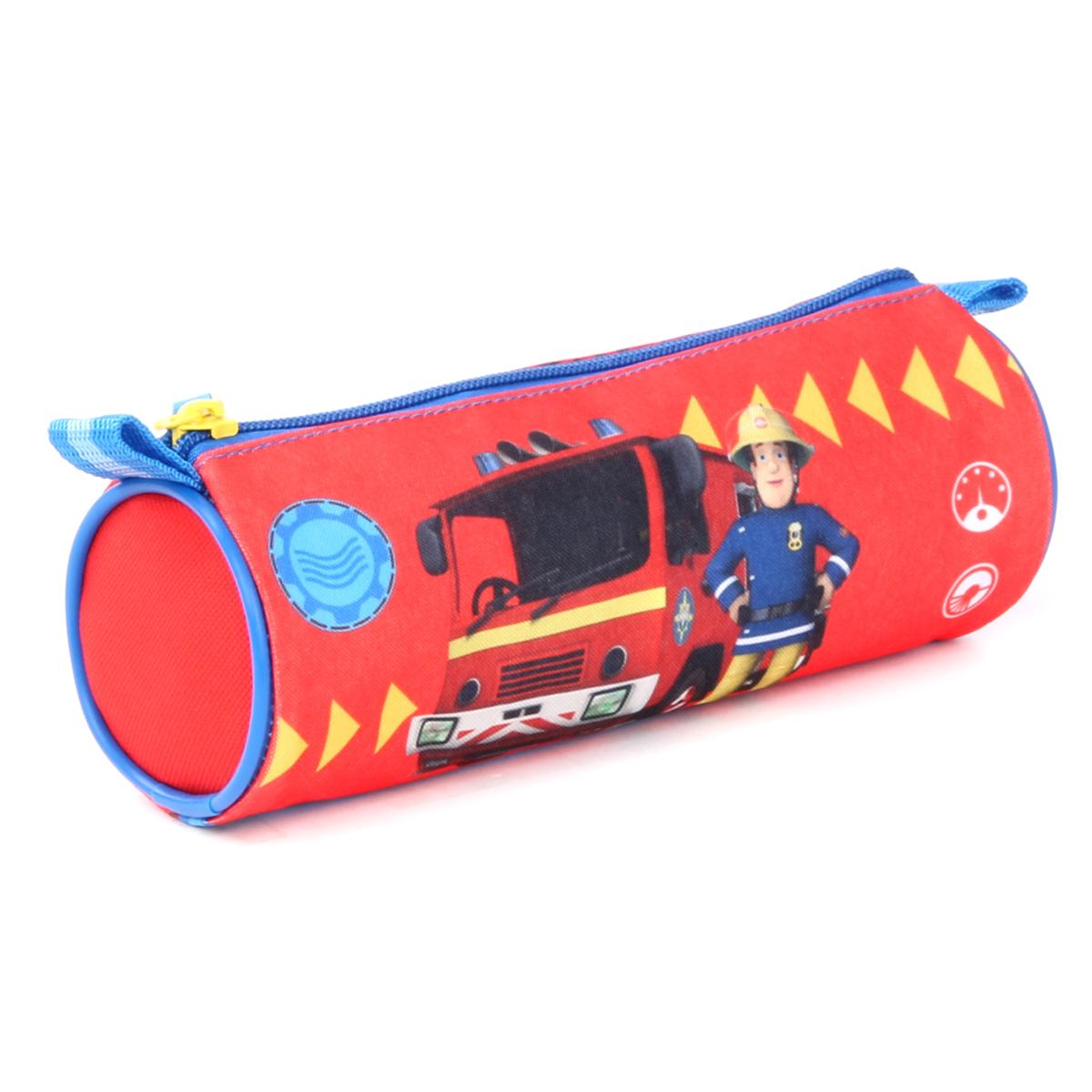 Trousse tube \'Sam le pompier\' rouge - 20x7 cm - [Q1932]