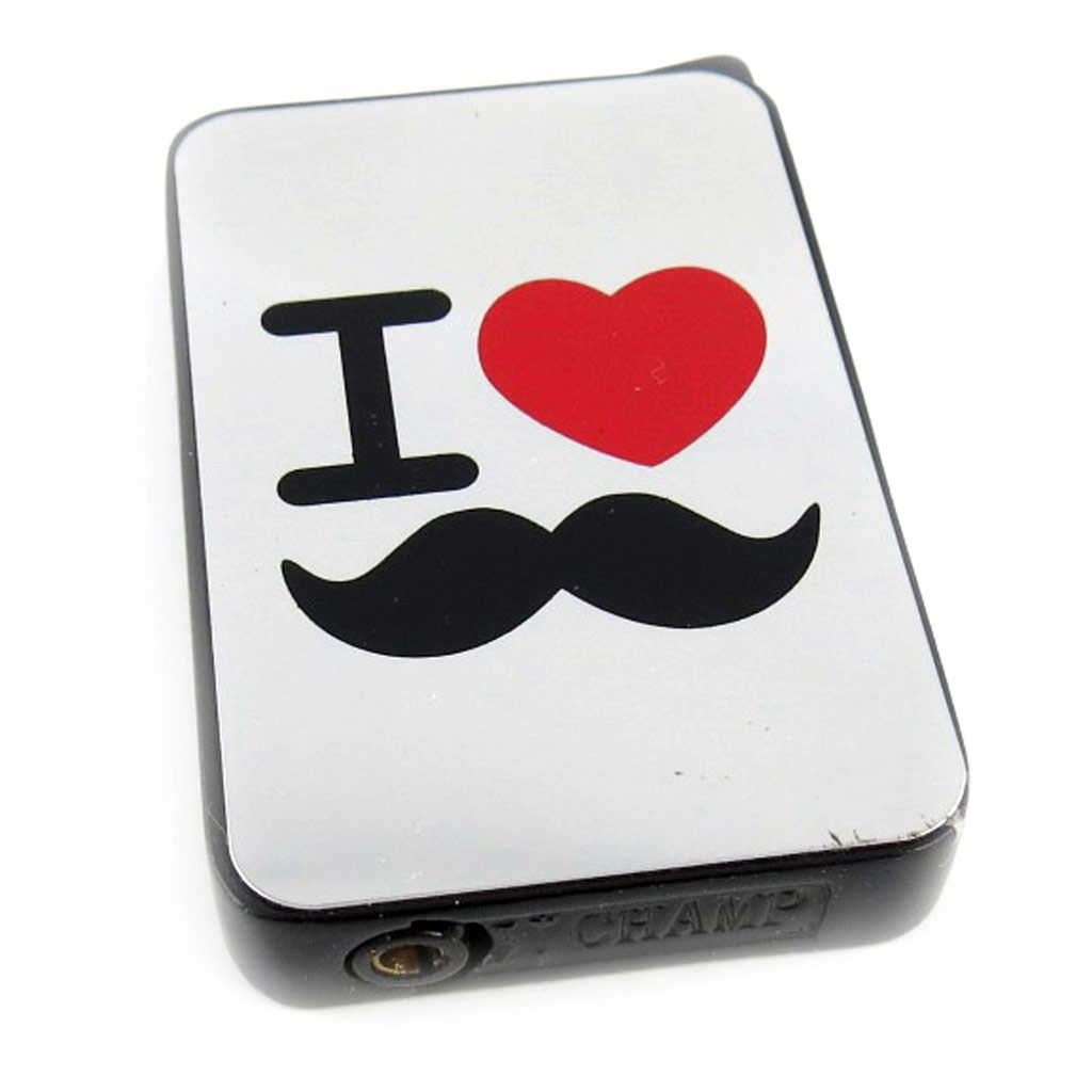 Briquet \'Moustache\' noir chrome (love) - [L2849]