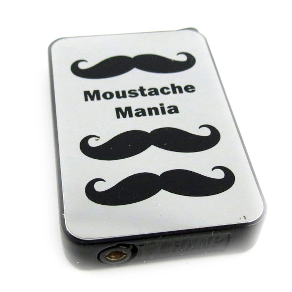 Briquet \'Moustache\' noir chrome (mania) - [L2850]