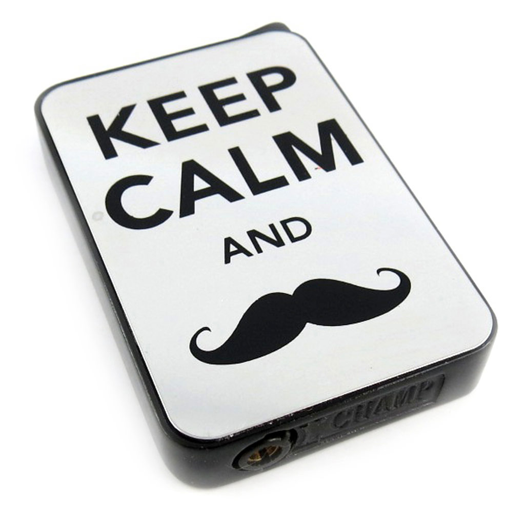 Briquet \'Moustache\' noir chrome (keep calm) - [L2851]