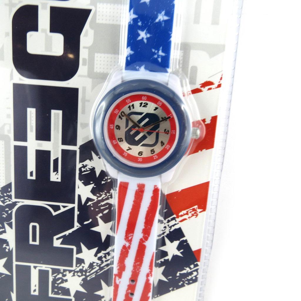 Montre créateur \'Freegun\' bleu rouge (America) - [N2407]