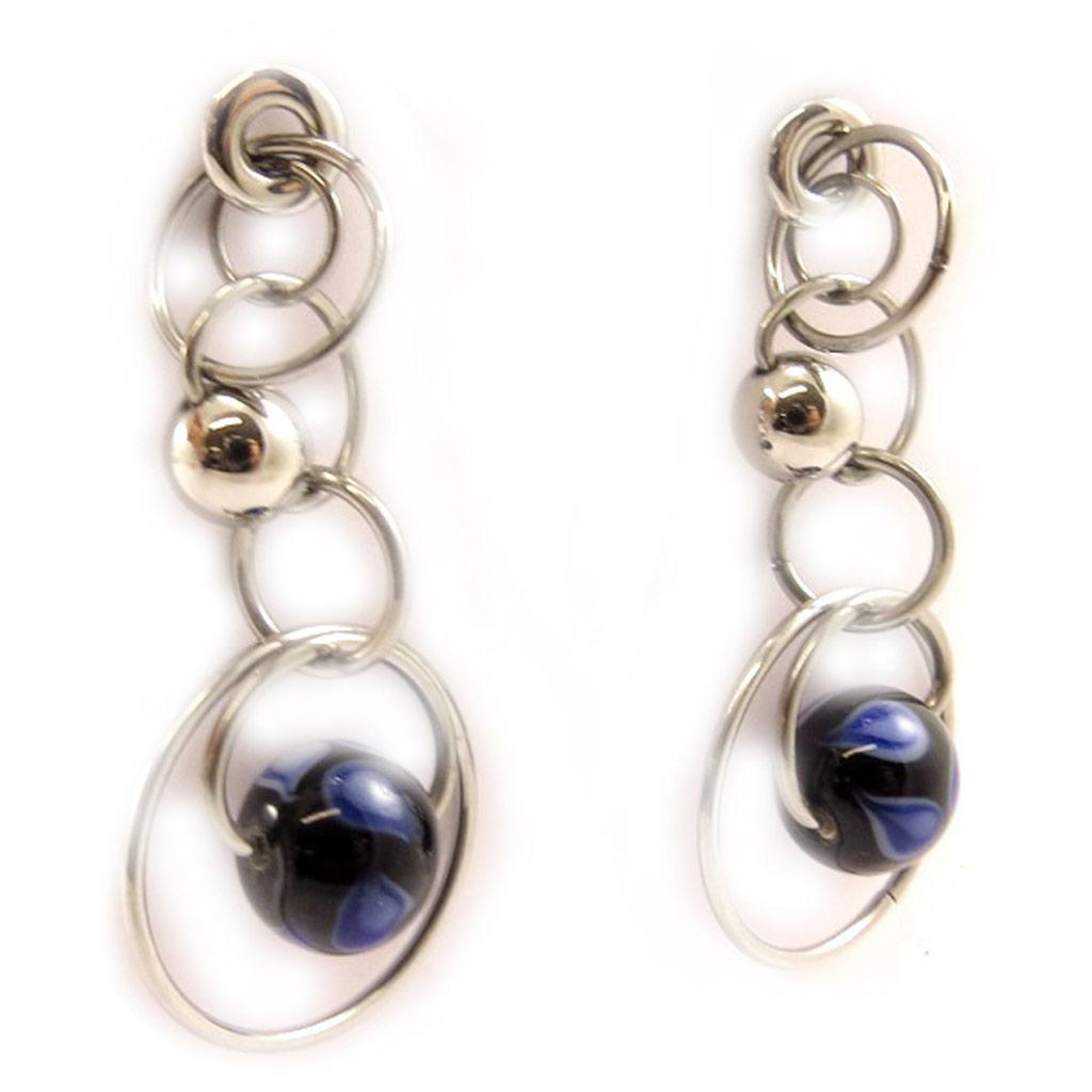 Boucles acier \'Calypso\' bleu argenté - [L2904]