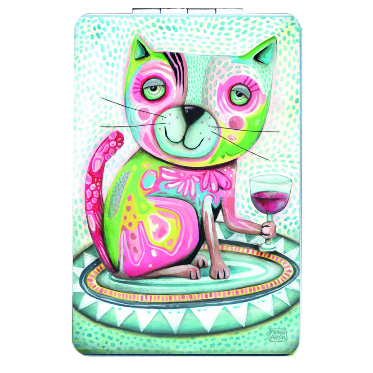 Miroir de poche \'Allen Designs\' vert rose (chat vin) - 85x55 cm - [Q1973]