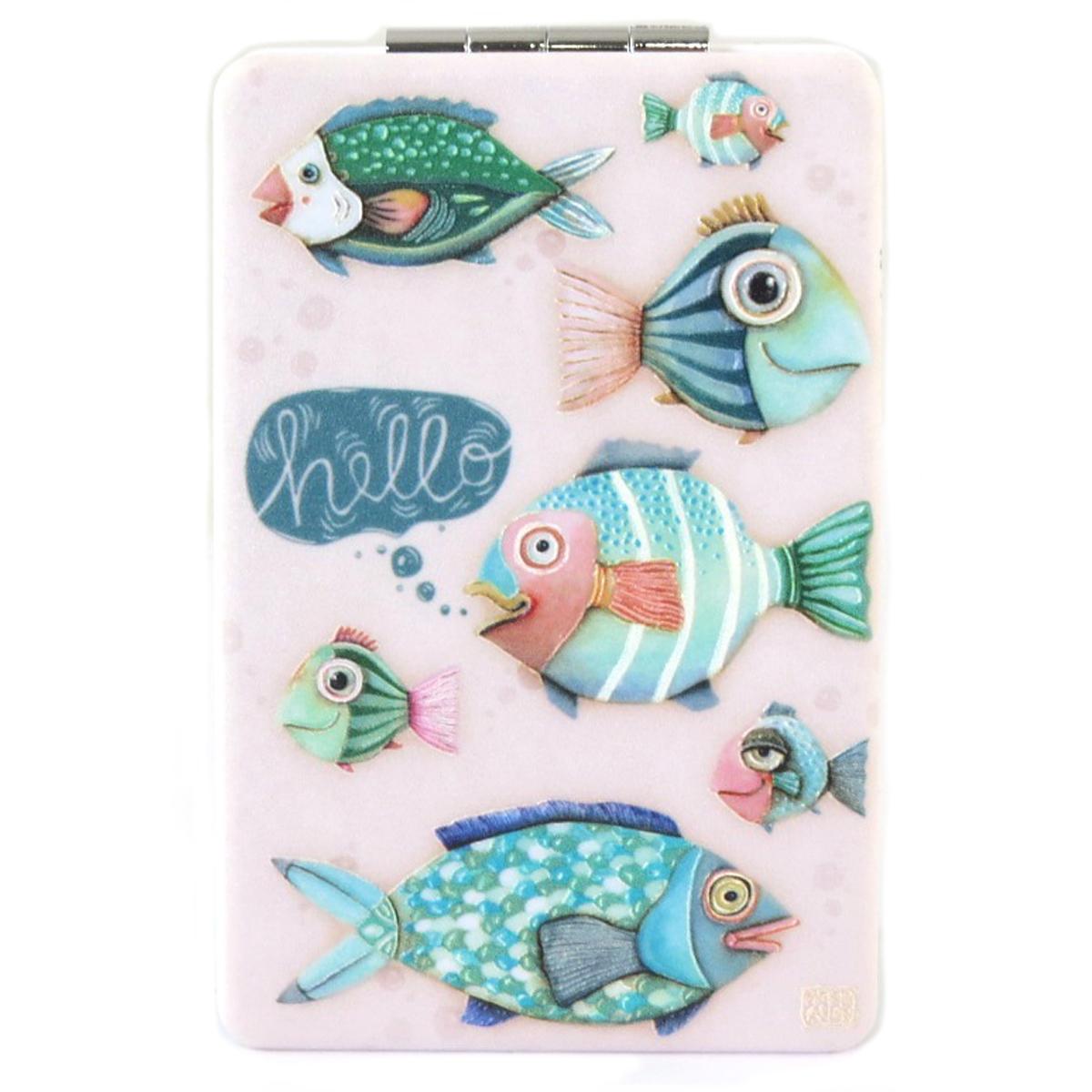 Miroir de poche \'Allen Designs\' vert rose (poissons) - 85x55 cm - [Q1974]