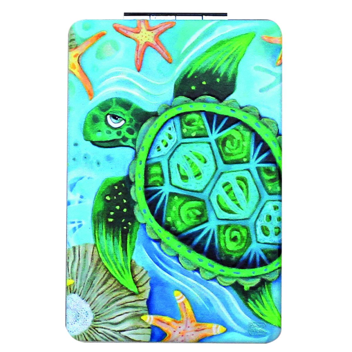 Miroir de poche \'Allen Designs\' bleu vert (Tortue) - 85x55 cm - [Q1977]
