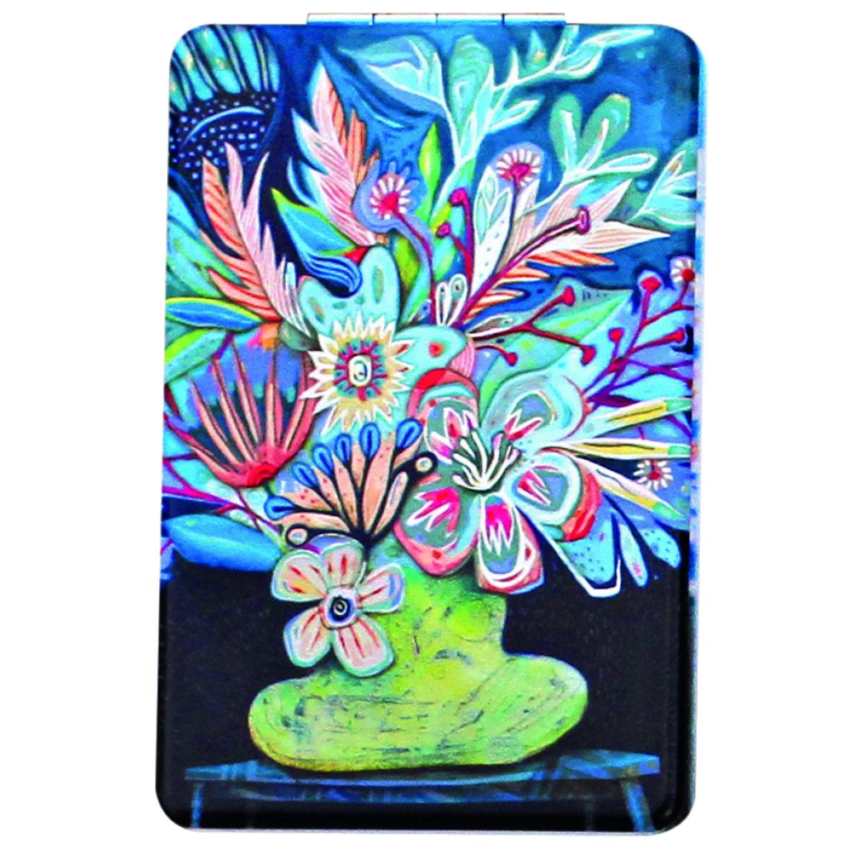 Miroir de poche \'Allen Designs\' bleu multicolore (bouquet de fleurs) - 85x55 cm - [Q1978]