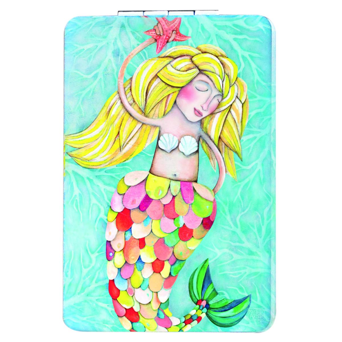 Miroir de poche \'Allen Designs\' turquoise multicolore (sirène) - 85x55 cm - [Q1979]