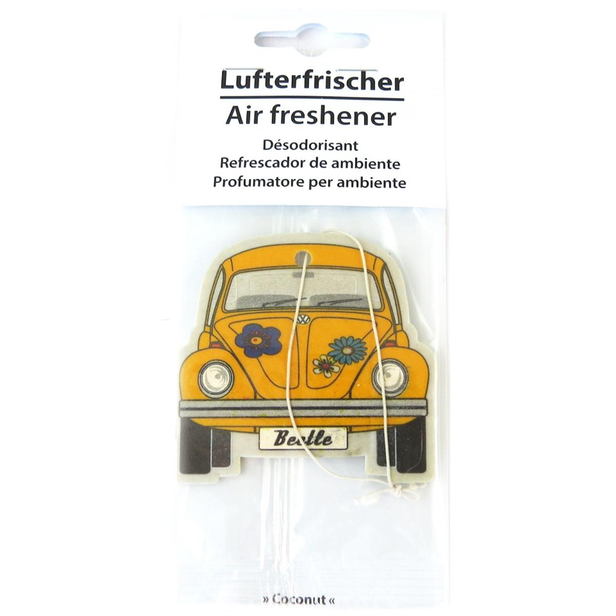 Désodorisant voiture \'Volkswagen\' jaune (coconut) - 65x55 mm - [Q1980]