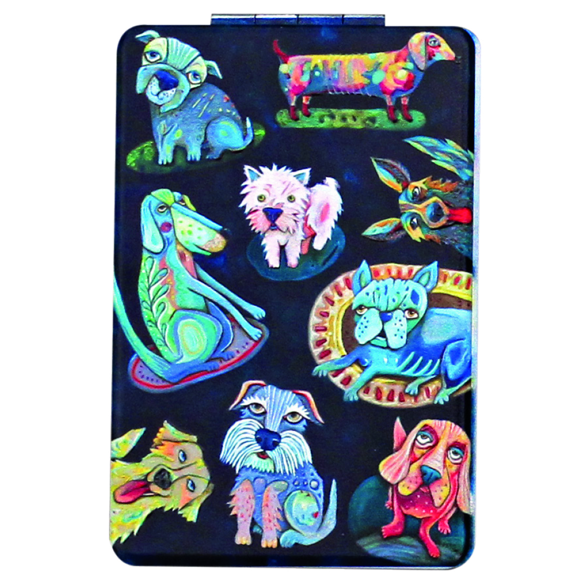 Miroir de poche \'Allen Designs\' noir multicolore (chiens) - 85x55 cm - [Q1987]