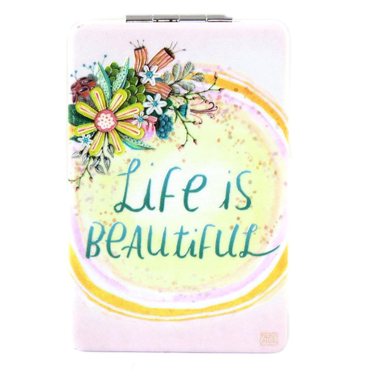 Miroir de poche \'Allen Designs\' rose multicolore (Life is Beautiful) - 85x55 cm - [Q1988]