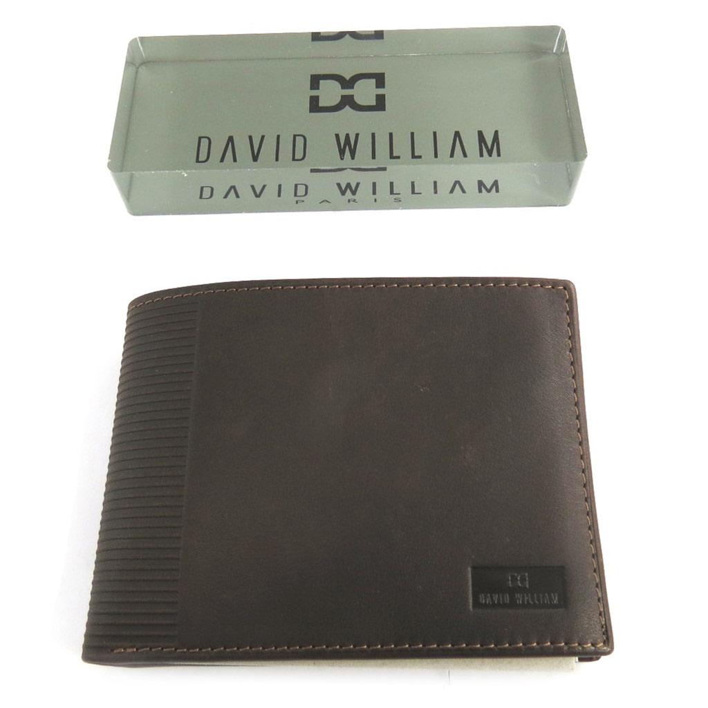 Portefeuille cuir italien \'David William\' marron (cuir de vachette gras) anti-piratage - [N2452]