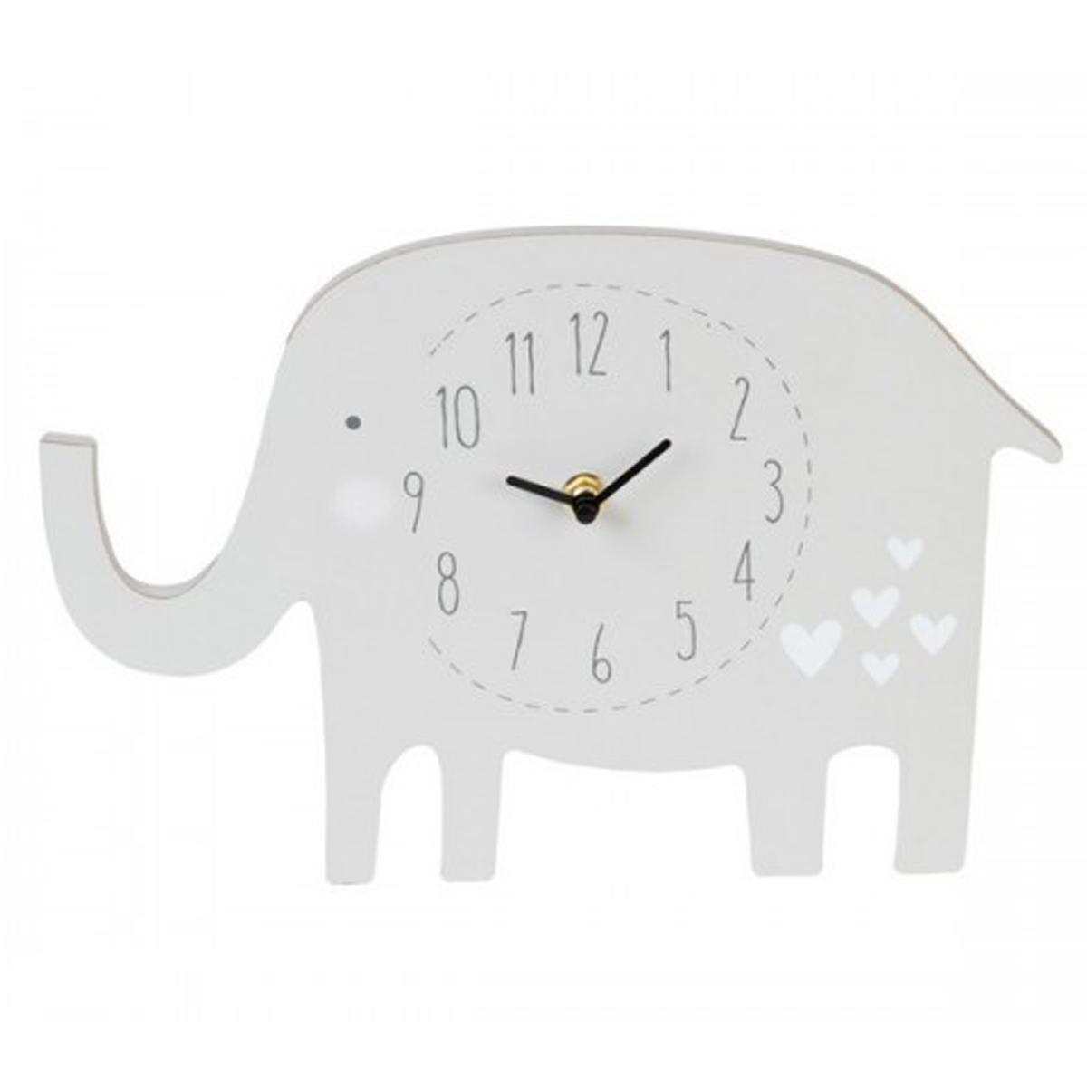 Horloge enfant bois \'Elephant\' blanc - 20 cm - [Q2086]