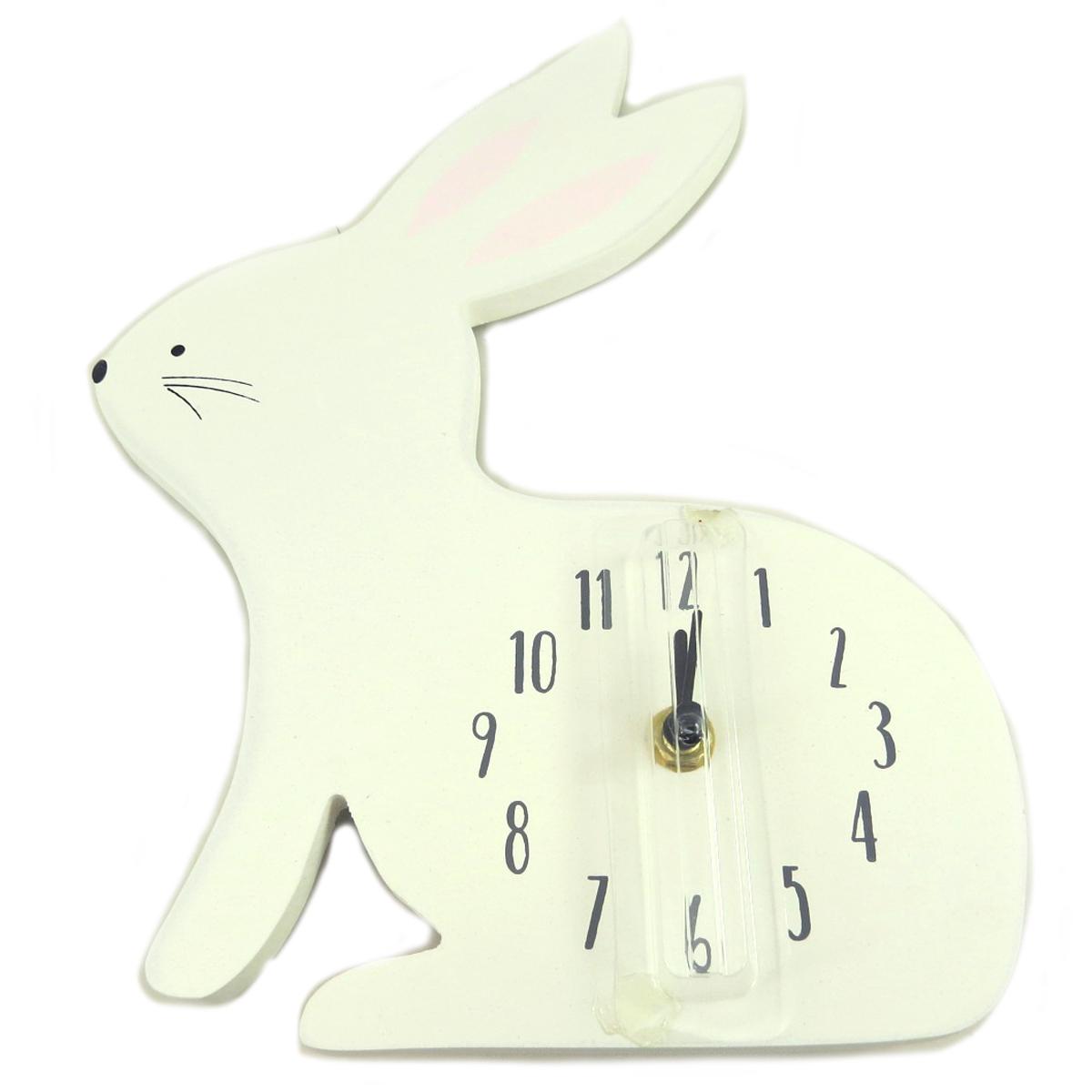 Horloge enfant bois \'Lapin\' blanc rose - hauteur 27 cm - [Q2087]