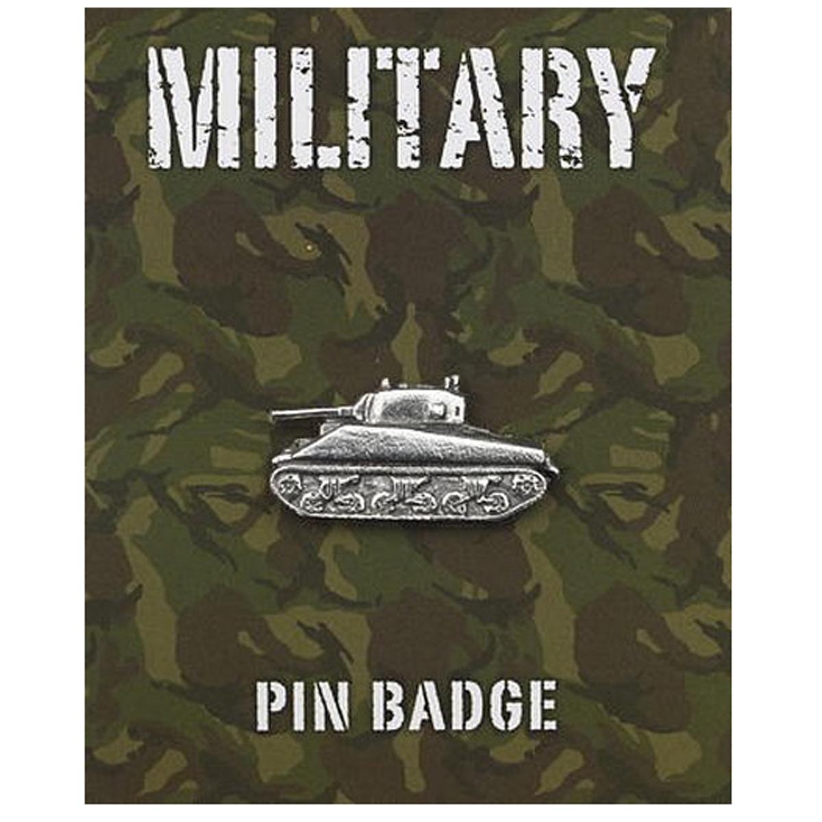 Broche pin\'s \'Military\' argenté (tank sherman) - 35x15 mm - [Q2101]