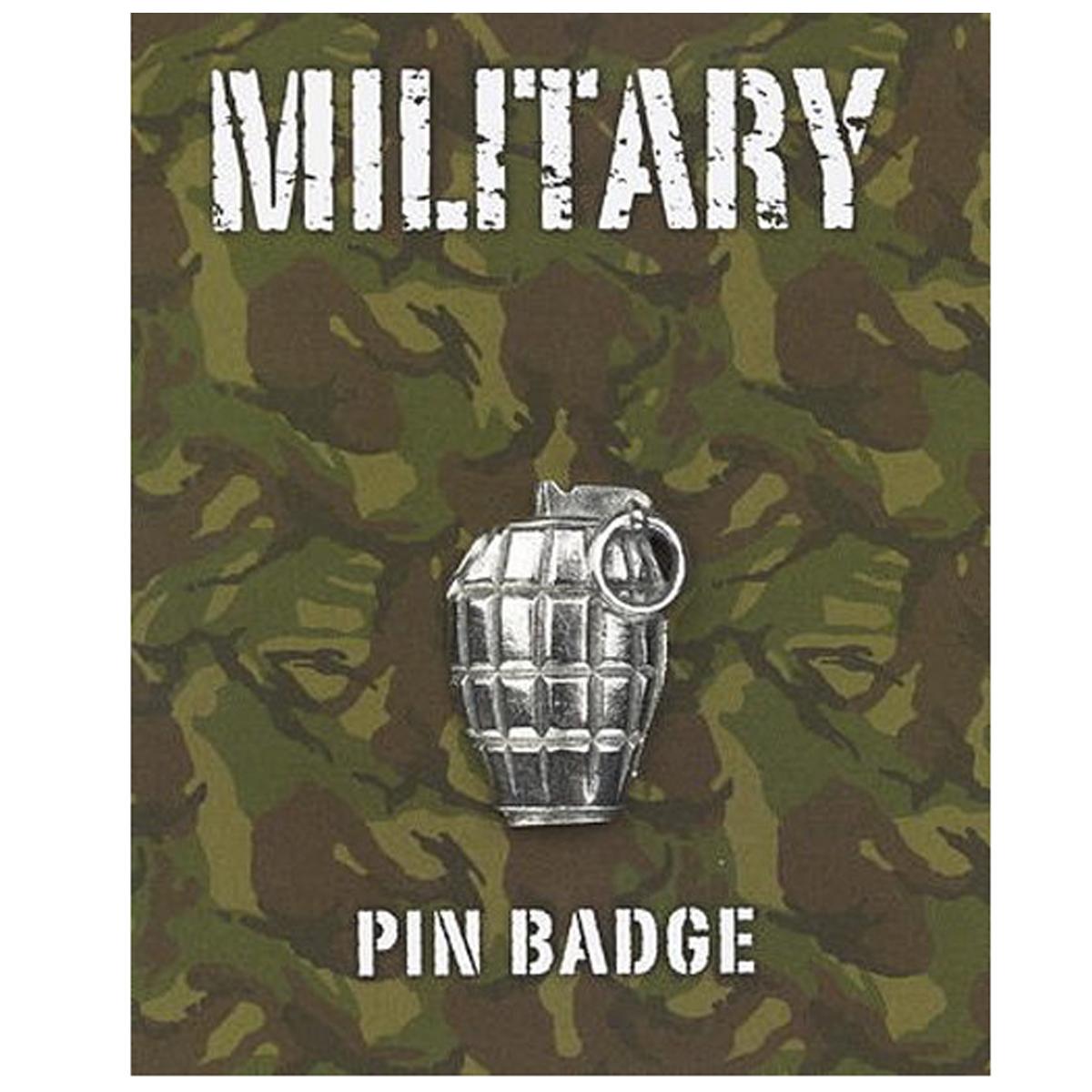 Broche pin\'s \'Military\' argenté (grenade) - 25x20 mm - [Q2102]