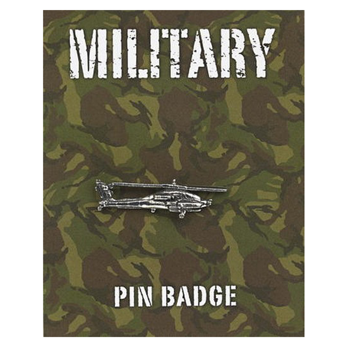 Broche pin\'s \'Military\' argenté (hélicopter Apache) - 35x10 mm - [Q2105]