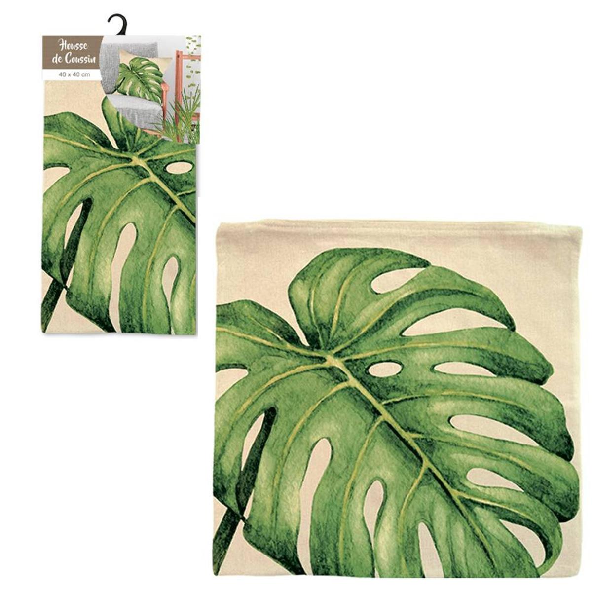 Housse de coussin coton \'Jungle\' beige vert (feuilles de monstera) - 40x40 cm - [Q2184]