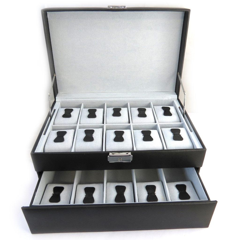 Coffret à montres \'So British\' Cuir Noir (15 montres) - 30x20x15 cm - [N2641]