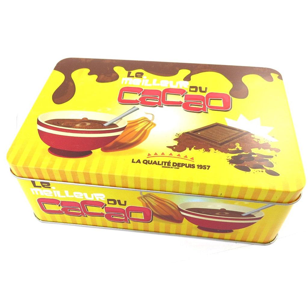 Boite à sucre \'Le Meilleur du Cacao\' jaune marron - [N2686]