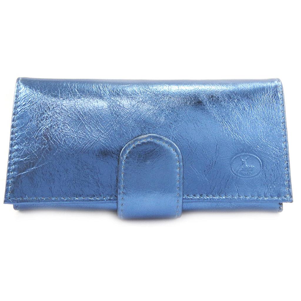 Grand porte-monnaie Cuir \'Frandi\' bleu electra - [L3360]