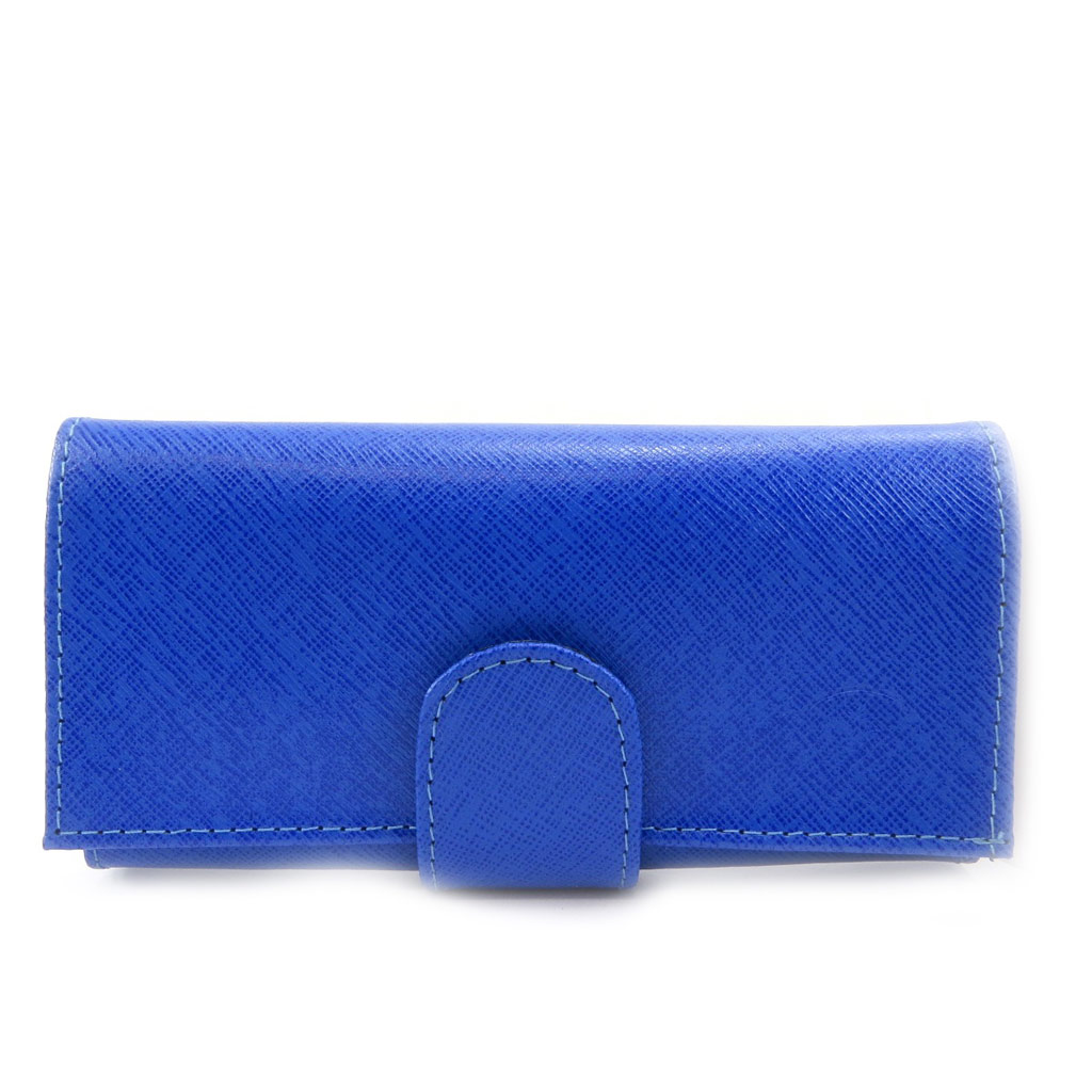 Grand porte-monnaie Cuir \'Frandi\' bleu - [L3431]