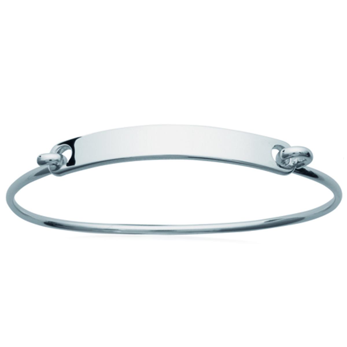 Bracelet Argent \'Identité\' (rhodié) - 56 mm 40x6 mm - [N2888]