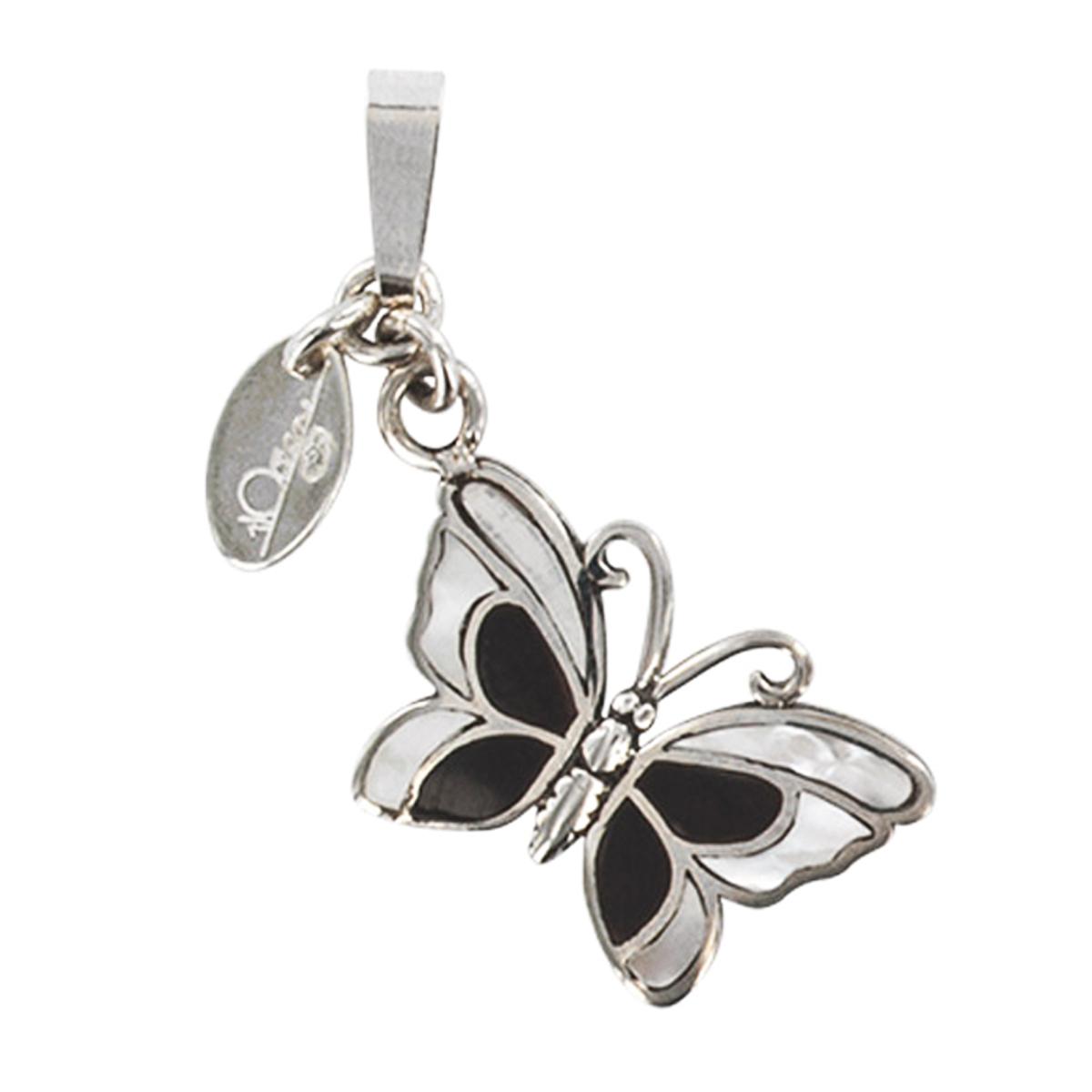 Pendentif \'Papillon des Songes\' noir nacre - 20x12 mm - [P2537]