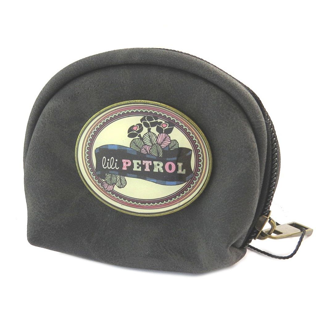 Porte-monnaie créateur \'Lili Petrol\' noir vintage - 9x7x4 cm - [P2650]