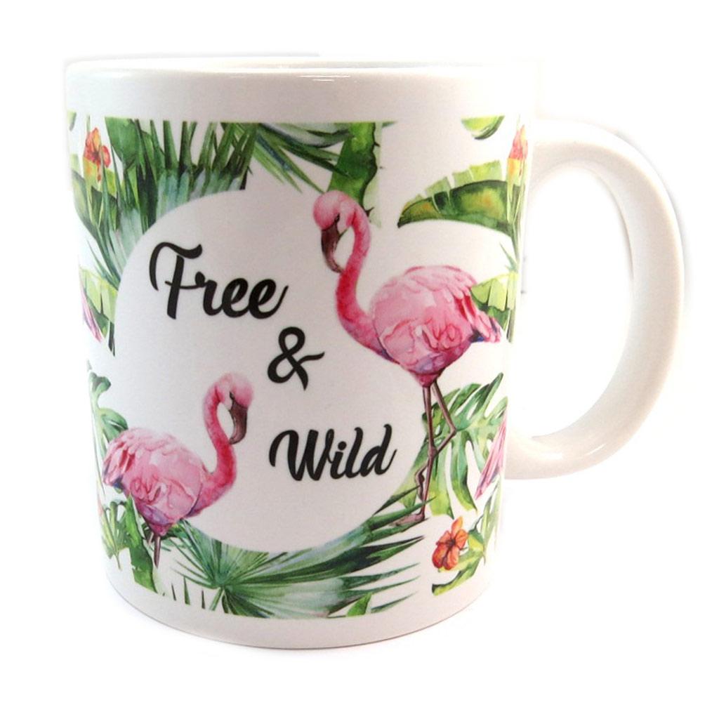 Mug céramique \'Jungle\' (Flamant rose - Free & Wild) - [P2674]