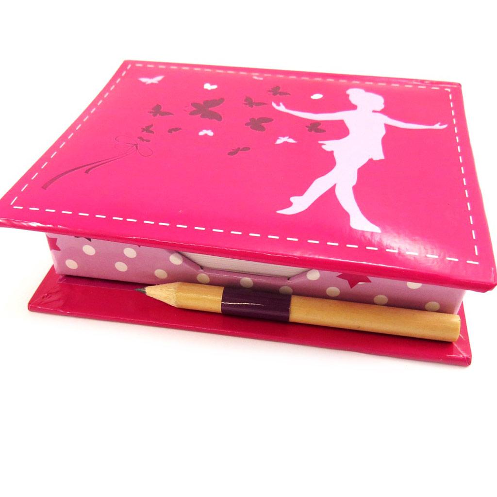 Bloc papier \'Ballerines\' rose (+stylo) - [L3985]