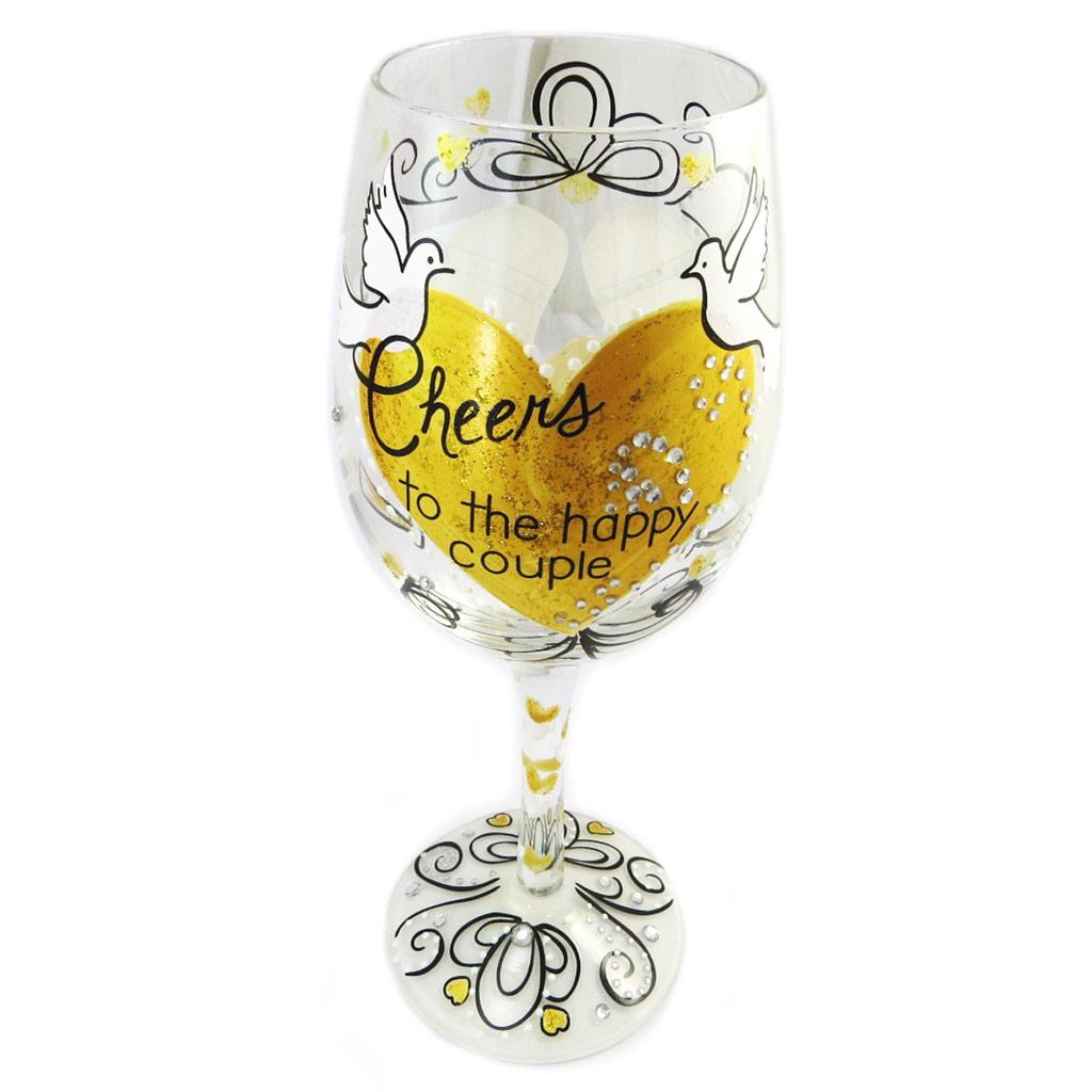 Verre à vin créateur \'Cheers to the happy couple\' doré transparent - 225 cm - [P2833]
